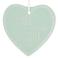 Glass Glitter Hanging Plaque - Friends are Where the Gin is