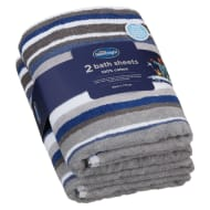 Silentnight Coastal Bath Sheet 2pk - Denim
