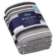 Silentnight Coastal Bath Sheet 2pk - Grey
