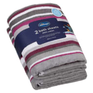 Silentnight Coastal Bath Sheet 2pk - Mulberry