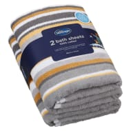 Silentnight Coastal Bath Sheet 2pk - Mustard
