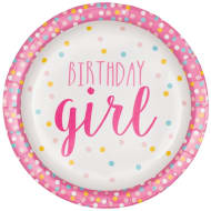 Kids Party Paper Plates 20pk - Birthday Girl