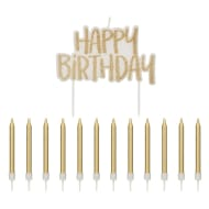 Happy Birthday Candles Set 25pc - Gold