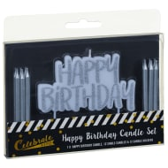 Happy Birthday Candles Set 25pc - Silver