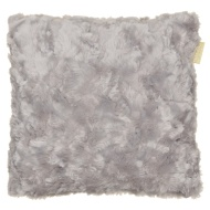 Sculptured Faux Fur Cushion - Silver