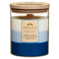 Heritage Layered Candle - Fresh Linen, Cotton Flower, Blue Lily