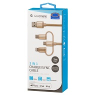 Goodmans 3-in-1 Charging & Sync Cable - Gold
