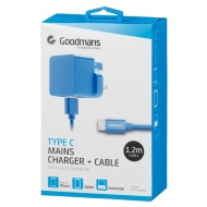 Goodmans Type C Mains Charger & Cable - Blue