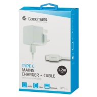 Goodmans Type C Mains Charger & Cable - White