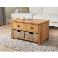 Wiltshire Oak Coffee Table with Storage Baskets