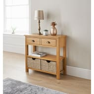 Wiltshire Oak Console Table with Storage Baskets