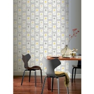 Retro Floral Wallpaper - Grey & Yellow