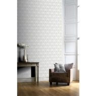 Deco Peacock Wallpaper - Light Grey