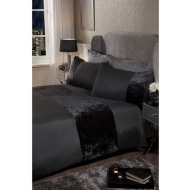 Crushed Velvet Double Duvet Set - Charcoal