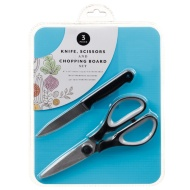 Knife, Scissors & Chopping Board Set - Blue