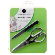Knife, Scissors & Chopping Board Set - Green