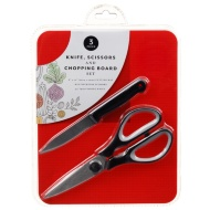 Knife, Scissors & Chopping Board Set - Red