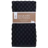 Jacquard Tea Towels 4pk - Charcoal