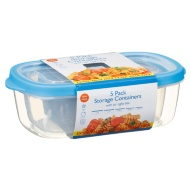Plastic Rectangular Food Containers 5pk - Blue