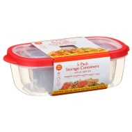 Plastic Rectangular Food Containers 5pk - Red
