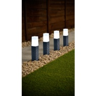 Rattan Effect Post Solar Lights 4pk - Grey