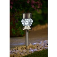 Crystal Top Glass Solar Post Light 4pk