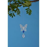 Metal Wind Spinner with Crystal Droplet - Butterfly