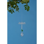 Metal Wind Spinner with Crystal Droplet - Dragonfly