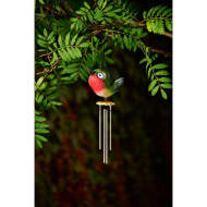 Bird Wind Chime with Light Up Eyes - Red