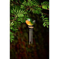 Bird Wind Chime with Light Up Eyes - Green