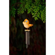 Bird Wind Chime with Light Up Eyes - Yellow