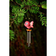 Butterfly Wind Chime with Light Up Eyes - Pink