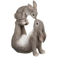 Large Kissing Bunny Ornament - Grey