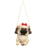 Swinging Dog Garden Ornament - Red Bow