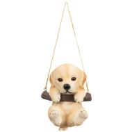 Swinging Dog Garden Ornament - Light Brown