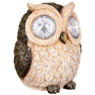 Solar Resin Owl with Crystal Eyes - Brown