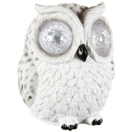 Solar Resin Owl with Crystal Eyes - White