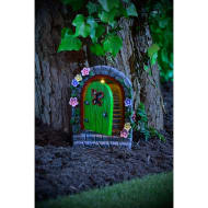 Solar Resin Fairy Door - Green