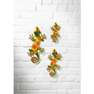 Glass Gecko Wall Art 3pk - Green