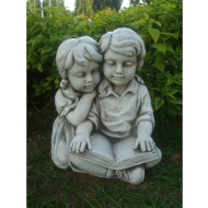 Boy & Girl Reading Garden Statue