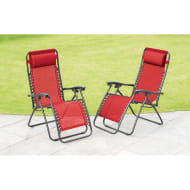 Zero Gravity Relaxer Chairs 2pk - Red