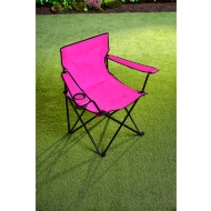 Folding Camping Chair with Cup Holder - Pink