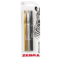 Zebra Metallic Gel Pens 3pk