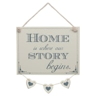 Hanging Hearts Plaque - Home is Where Our Story Begins