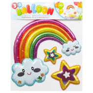 3D Balloon Wall Stickers - Rainbow