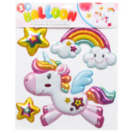 3D Balloon Wall Stickers - Unicorn & Rainbows