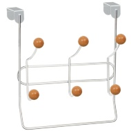 Overdoor Ball Hooks with Hanging Rail 6pk - Chrome