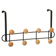 Wooden Ball Overdoor Hooks - Black