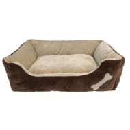 Square Bone Pet Bed - Brown