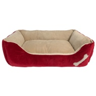 Square Bone Pet Bed - Red